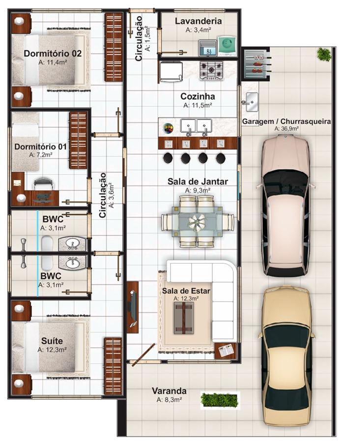 Plantas de casas pequenas para 2 ou 3 quartos veja dicas for Casa moderna 80m2