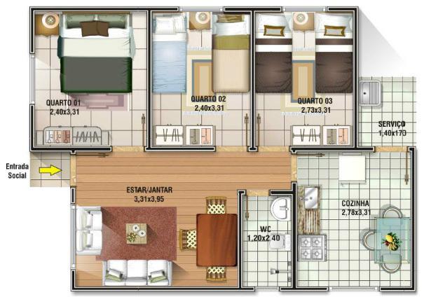 Plantas de casas pequenas para 2 ou 3 quartos veja dicas for Casa moderna 6x6